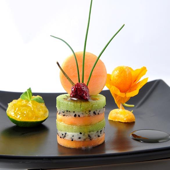 Création culinaire Assiette Découpe Cuisine - Frederic Jaunault MOF Primeur Fruits Legumes