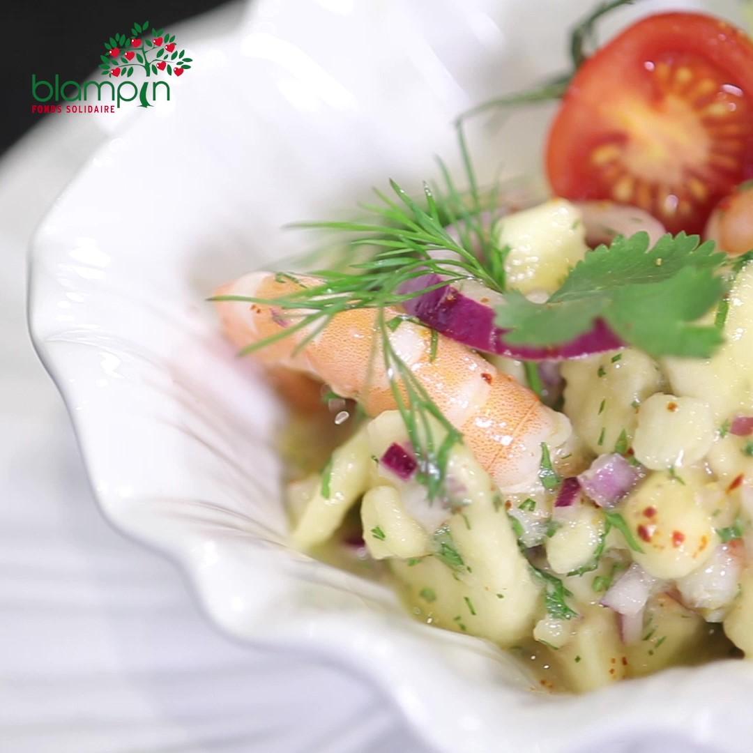 Recette Ceviche de bananes et ses crevettes roses - Frederic Jaunault MOF primeur Fruits Legumes