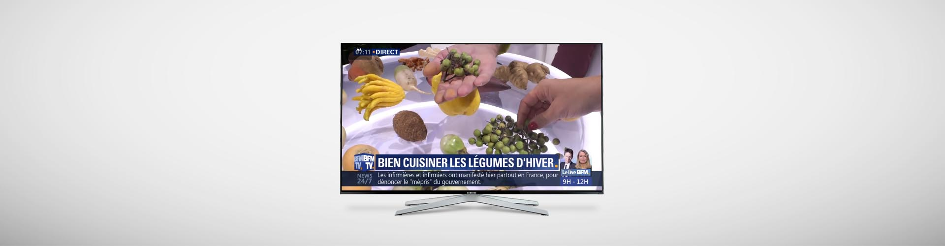 Header Actu Plateau BFMTV Emission Bien cuisiner les Fruits et Légumes en Hiver - Frédéric Jaunault MOF Fruits Légumes