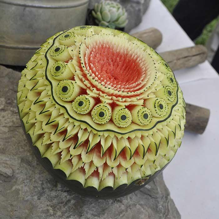 Sculpture Pastèque sculpté - Frederic Jaunault MOF primeur Fruits Légumes