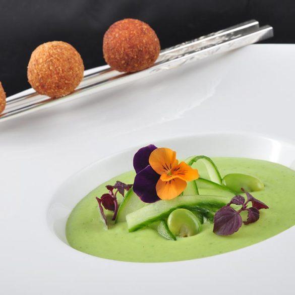 Création culinaire Crème de pois - Frederic Jaunault MOF Primeur Fruits Legumes