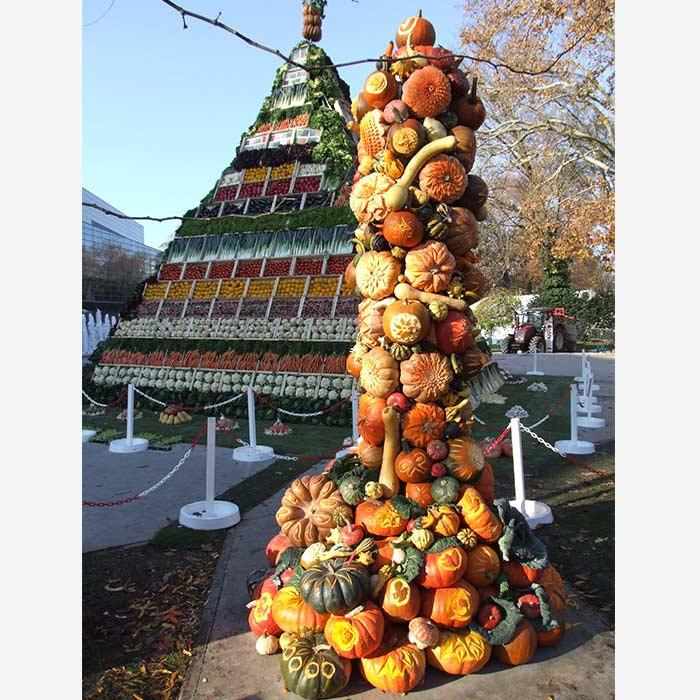 Sculpture Pyramide record du Monde - Frederic Jaunault MOF primeur Fruits Légumes