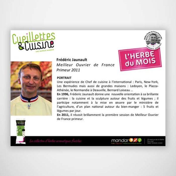 Développement produit Cueillette Cuisine - Frederic Jaunault Fruits Legumes